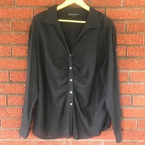 Lafayette 148 Button Down Shirt Black Size…